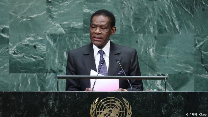استوائی گیانا کے صدر تیوڈورو اوبیانگ نگیما ماباسوگو اقوام متحدہ کی جنرل اسمبلی سے خطاب کررہے ہیں