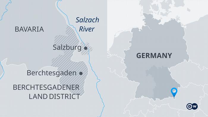 جنوبی جرمنی برچٹیس گڈن سالزبرگ باویریا کا نقشہ